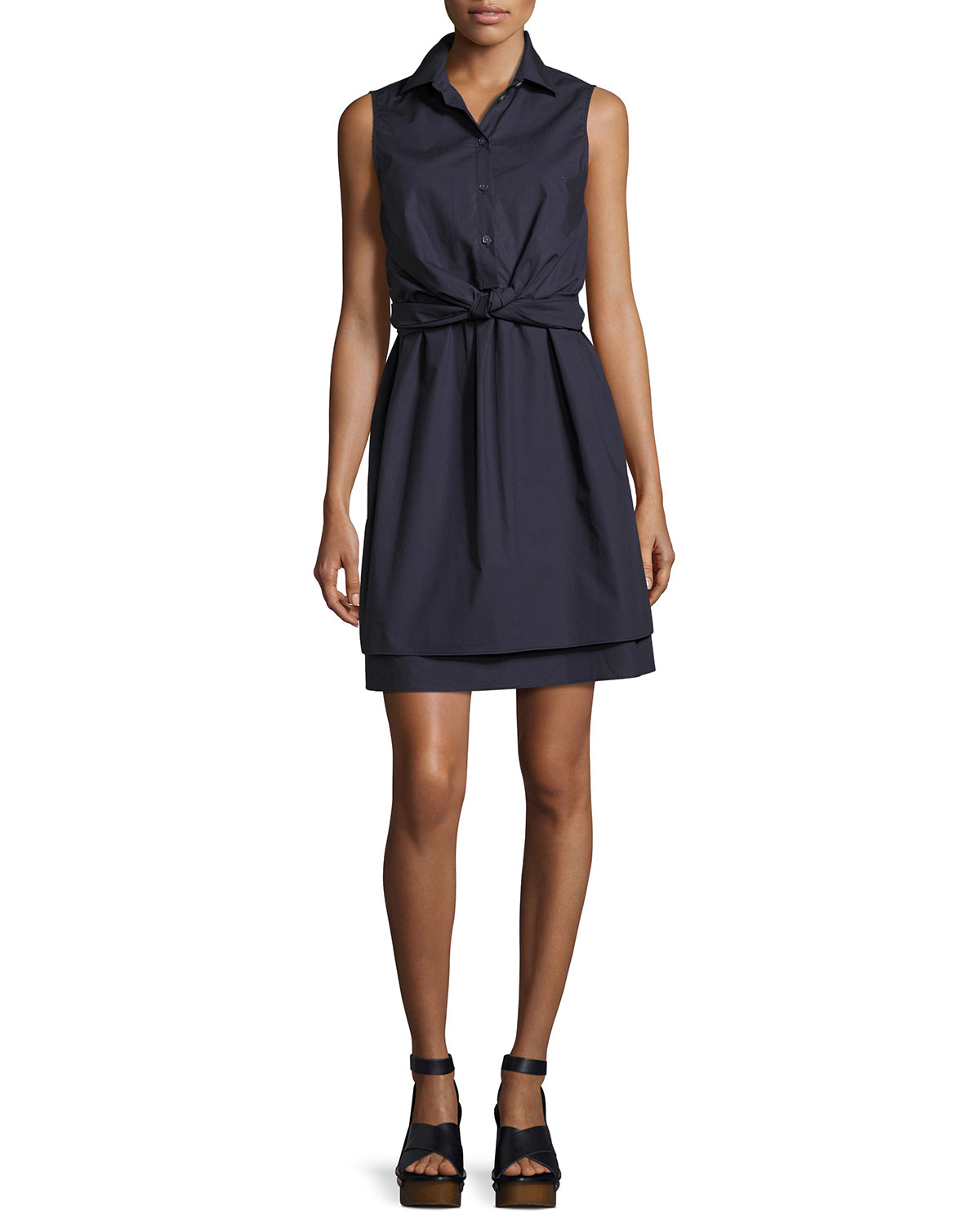 337a2a22671fc3 Derek Lam 10 Crosby Sleeveless Tied Poplin Shirtdress