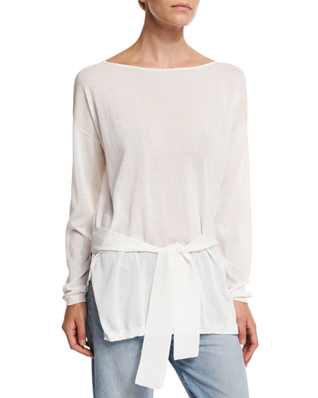 Elizabeth and James Elise Long-Sleeve Semisheer Cropped-Back Top,