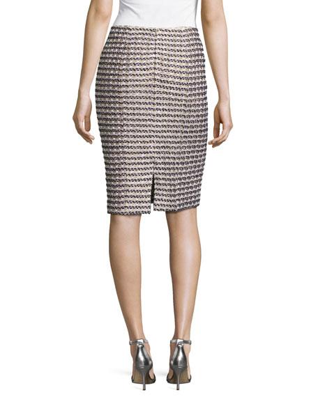 Vany Tweed Knit Pencil Skirt, Gold