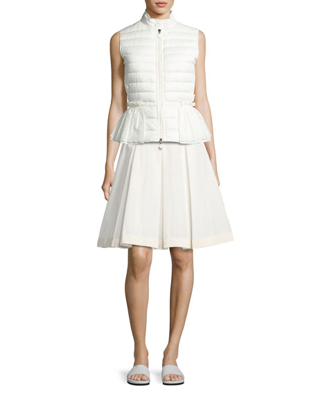 Twist Pleated Skirt, White