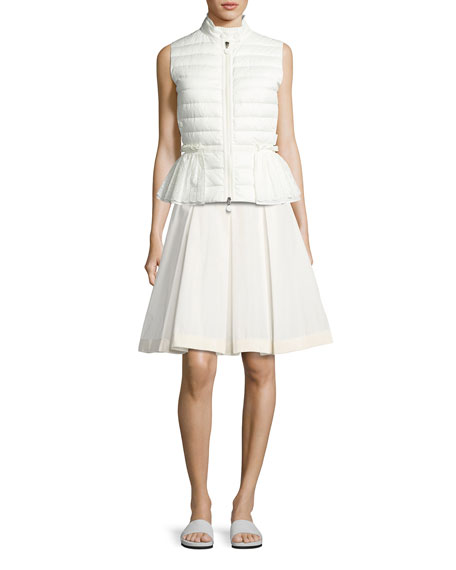 Moncler Valensole Lace-Trim Peplum Puffer Vest, White and