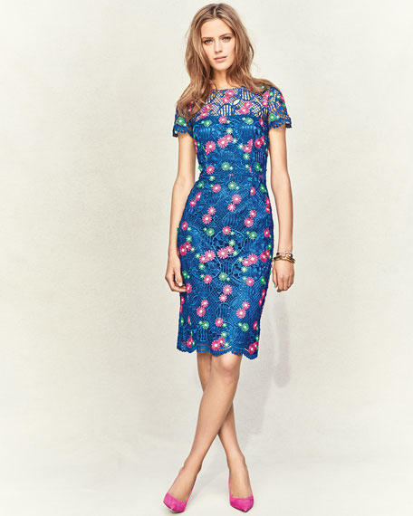 Venice Short-Sleeve Floral Lace Cocktail Dress, Blue/Multicolor