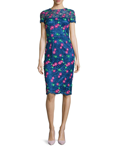 Venice Short-Sleeve Floral Lace Cocktail Dress  Blue/Multicolor