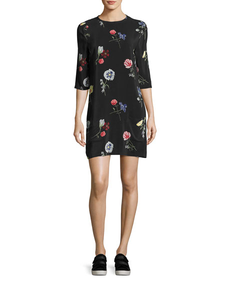 Equipment Aubrey Floral Print Silk 3 4 Sleeve Shift Dress