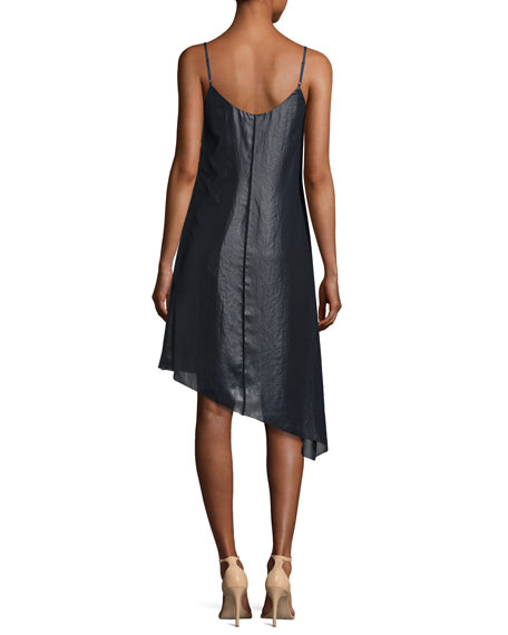 Sleeveless Asymmetric Lacquered Crepe Dress, Navy