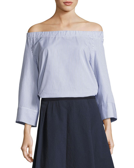 Corvara Striped Off-the-Shoulder Cotton Blouse