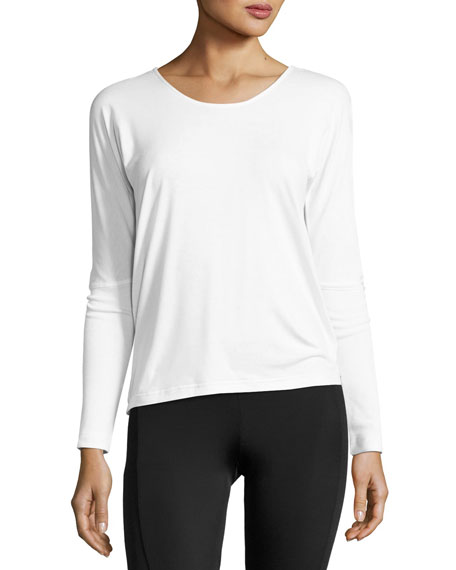 Onzie Drapey V-Back Long-Sleeve Tee, White