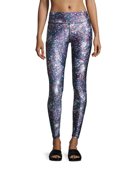 Terez Night Sparkle Tall-Band Performance Leggings, Multicolor