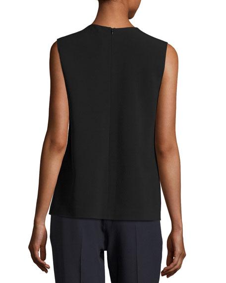 Cheti Sleeveless Crepe Drape-Front Top, Black