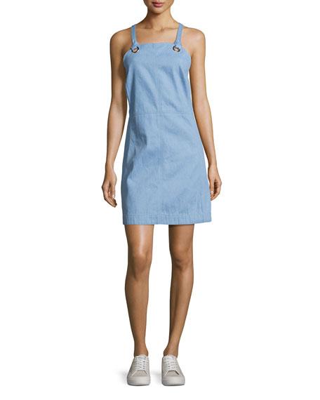 Suffolk Denim Apron Dress, Pale Blue