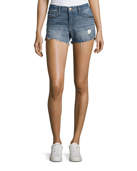FRAME Le Cut Off Tulip-Hem Denim Shorts, Valle