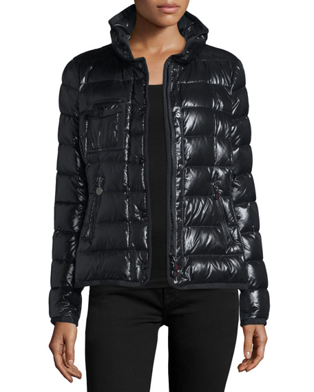 Armoise Shiny Quilted Jacket w/Fur Hood