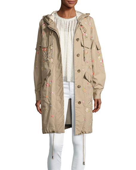 Needle & Thread Dragonfly Embroidered Military Parka, Beige