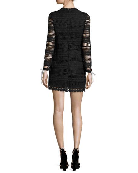 Braelynn Lace Bow-Neck Mini Dress, Black