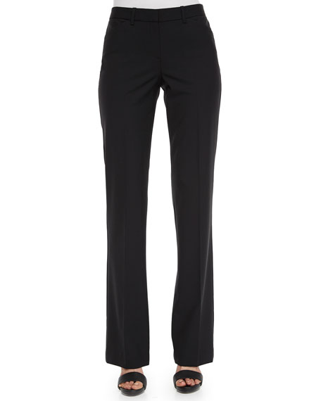 Theory Max Straight-Leg Suit Pants, Black