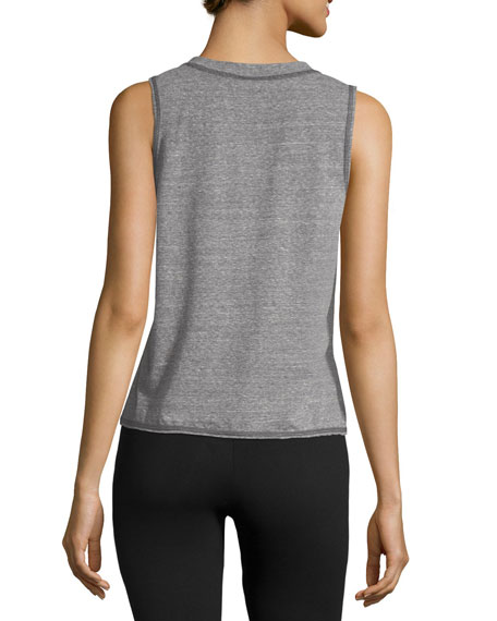 Pacific Pintuck Muscle Tank Top, Gray