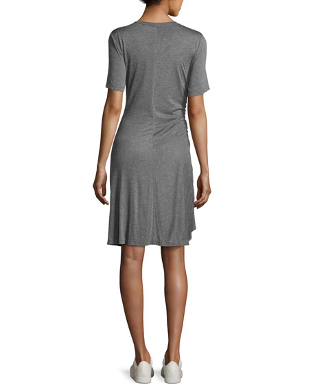 Short-Sleeve Ruched Jersey Dress