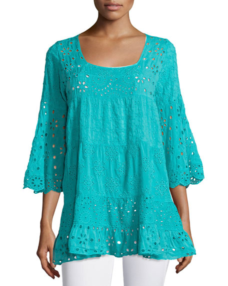 Johnny Was Bell-Sleeve Eyelet Tiered Tunic, Petite and