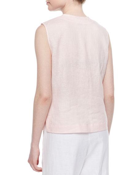 Linen Button-Front Shell, Plus Size