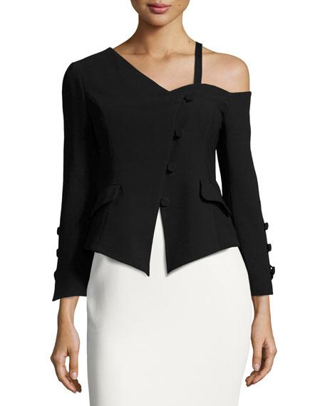 cinq a sept Peri Crepe Asymmetric Jacket, Black