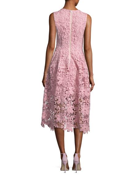 Bellflower Guipure Lace Sleeveless V-Neck Ball Dress, Pink