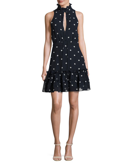 Sleeveless Polka Dot Silk Mini Dress, Navy Blue/White