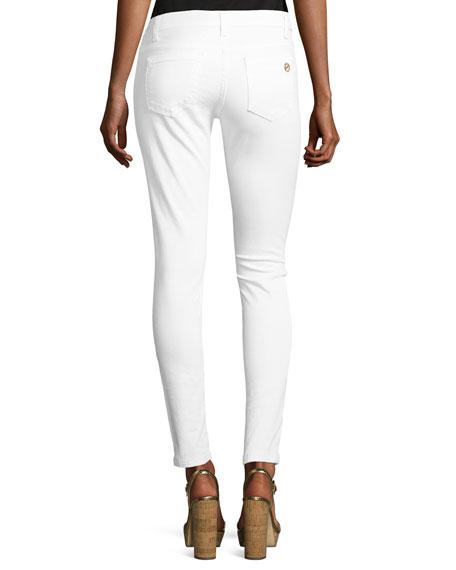 Izzy Skinny Zip-Pocket Ankle Jeans, White