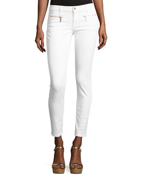 MICHAEL Michael Kors Izzy Skinny Zip-Pocket Ankle Jeans,