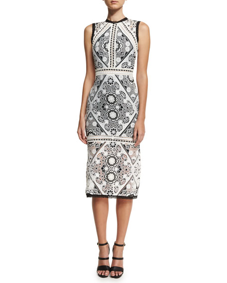 Alexis Keena Lace-Overlay Cocktail Dress, Black/White