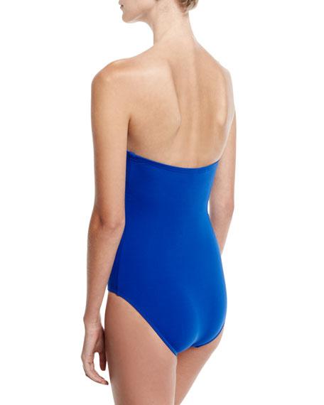 Jetset Wrap-Front Bandeau One-Piece Swimsuit, Blue