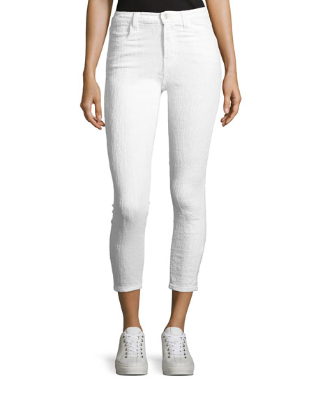 J Brand Alana High-Rise Cropped Skinny Jeans, White