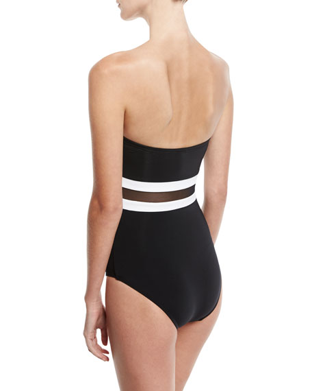 Classique Contrast Bandeau One-Piece Swimsuit, Black/White