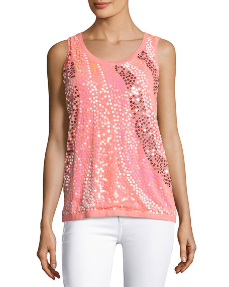 Wavy Sequined-Front Shell, Coral, Petite