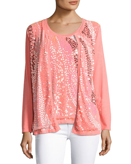 Wavy Sequined-Front Cardigan, Coral, Plus Size