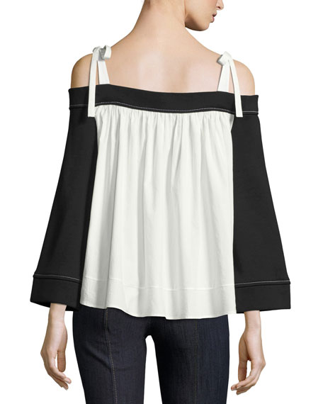 Orchard Tie Cold-Shoulder Cropped Sweatshirt, Black/Ivory
