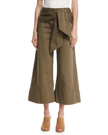 cinq a sept Knox Belted Twill Culottes, Olive