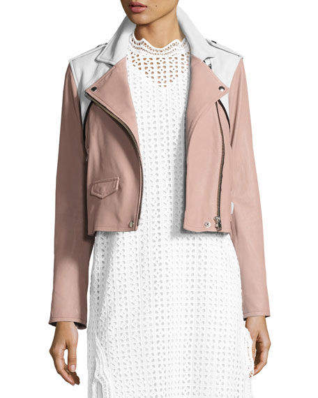 Iro Annik Colorblock Leather Moto Jacket, Pink