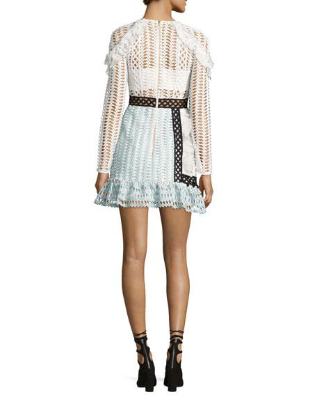Frill-Trim Paneled Lace Dress, White/Black/Baby Blue