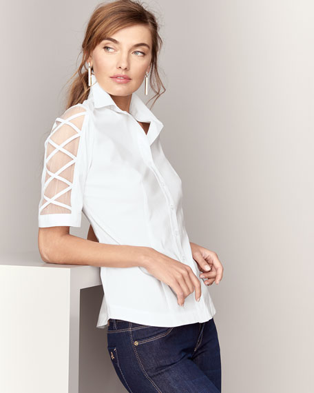 Burnout-Sleeve Button-Front Blouse, Plus Size