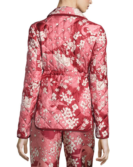Quilted Floral Silk Open-Front Jacket, Pink