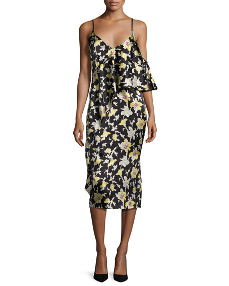 cinq a sept Zuri Floral Cold-Shoulder Slip Dress,