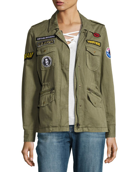 Andreea Patch Cotton Utility Jacket, Forest