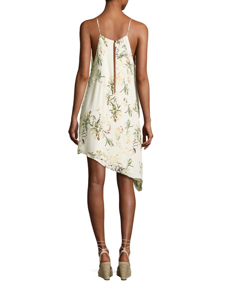 The Waterfall Floral Silk Slip Dress, White/Green