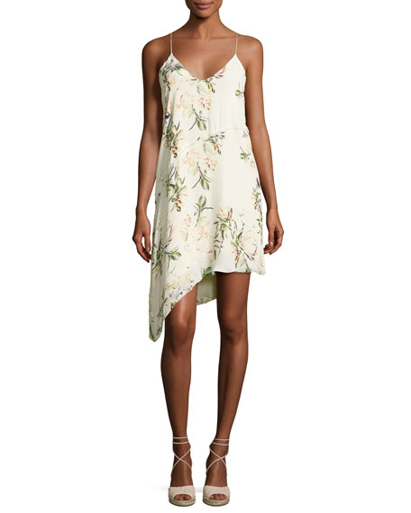 Haute Hippie The Waterfall Floral Silk Slip Dress,