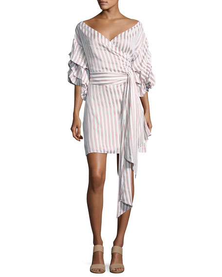 Alexis Maren Striped Off-the-Shoulder Wrap Dress