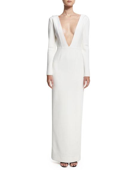 Diane von Furstenberg Plunging V-Neck Long-Sleeve Tailored Gown, White