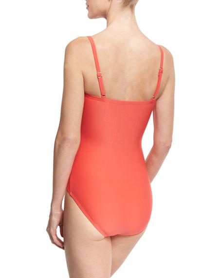 Floral-Appliqué Cutout One-Piece Swimsuit