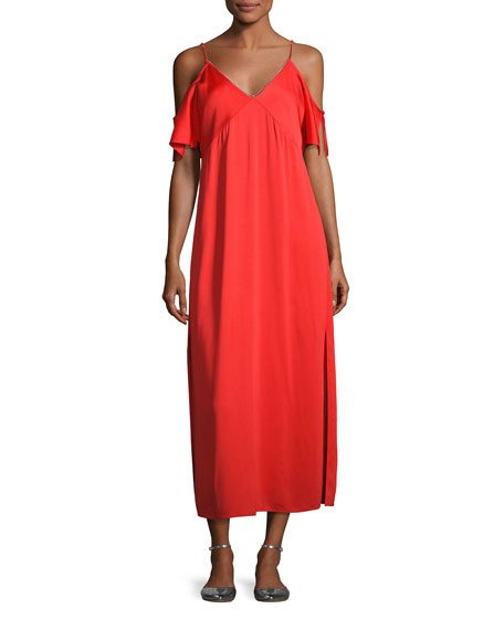 Stretch Crepe Cold-Shoulder Midi Dress, Scarlet