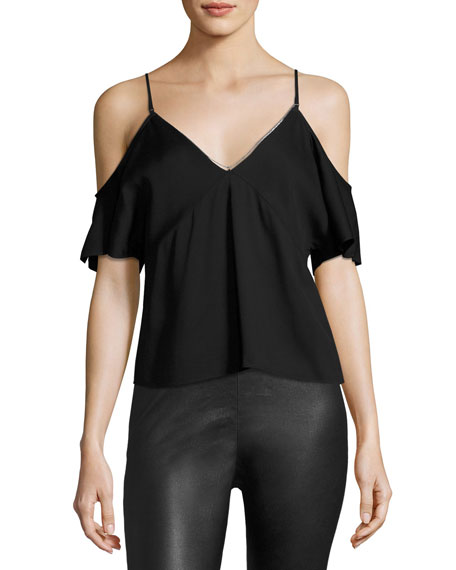 T by Alexander Wang Stretch Crepe Cold-Shoulder Top,
