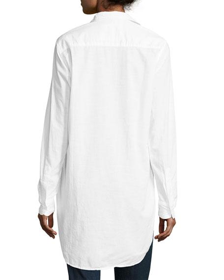 Grayson High-Low Button-Down Shirt, White